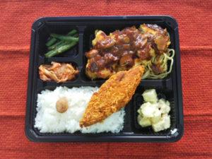 「週替わり弁当」は鶏のピカタ×白身魚のフライ600円(税込)