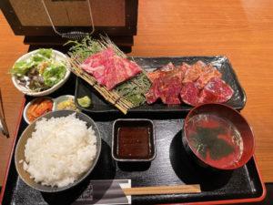 焼肉三種食べ比べランチ 1,408円(税込)「肉匠 牛虎 心斎橋店」